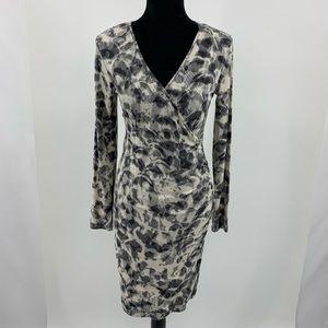 Banana Republic Stretch Gray Animal Print Dress